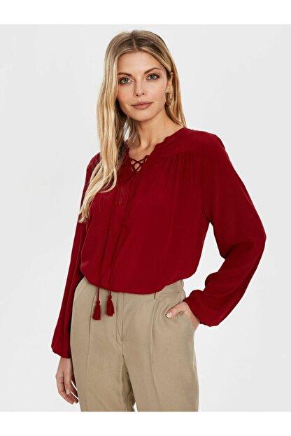 LC Waikiki Kadın Bordo  Bluz