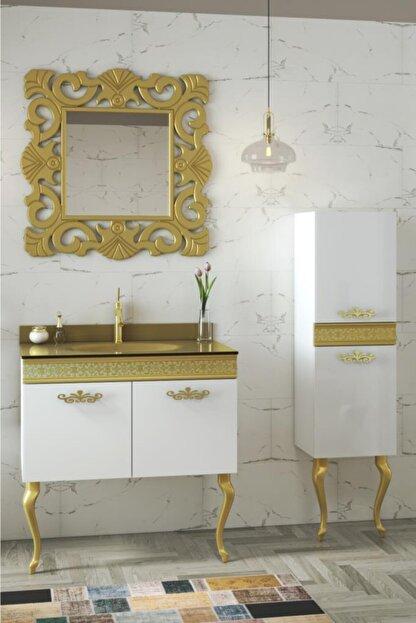 Housepack Gold Beyaz 100 Cm (65+35)boy Dolaplı Cam Lavabolu Lüx Banyo Takımı