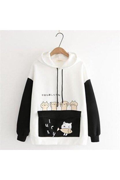 öz taha Kadın Beyaz Kedi Siyah Pati Desenli Sweatshirt