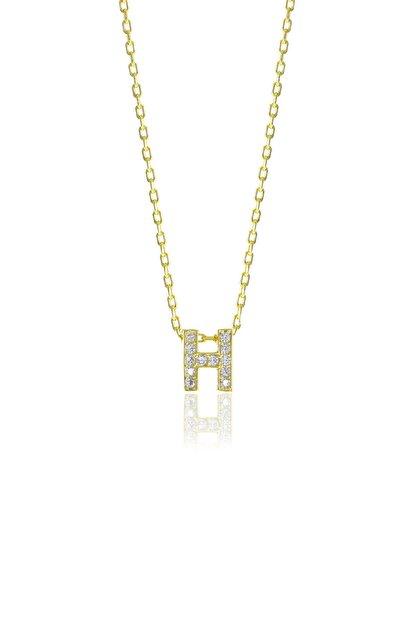 Söğütlü Silver Gümüş  Altın Yaldızlı Üç Boyutlu Minimal H Gümüş Harf Kolye