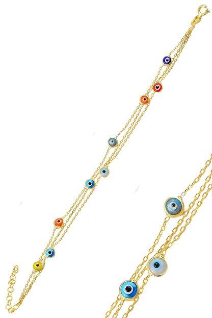 Söğütlü Silver Gümüş Altın Yaldızlı, Renkli,Cam Göz Nazar Üç Zincirli  Gümüş Bileklik