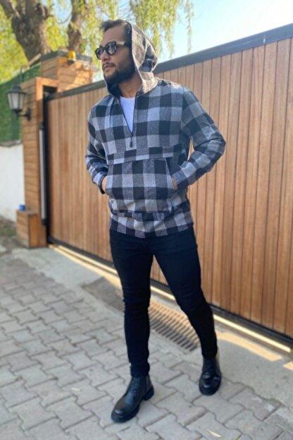 VİP LOKAL Erkek Gri Oduncu Ekose Kanguru Cep Füme Kapüşonlu Sweatshirt