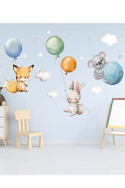 Sim Tasarım Sevimli Balonlu Hayvanlar Duvar Sticker Seti