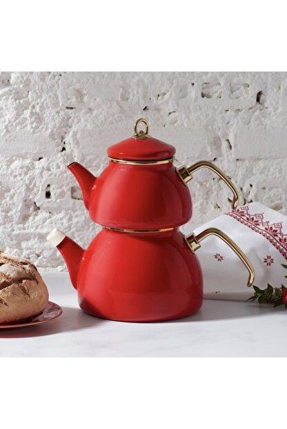 Karaca Retro Emaye Kırmızı Çaydanlık