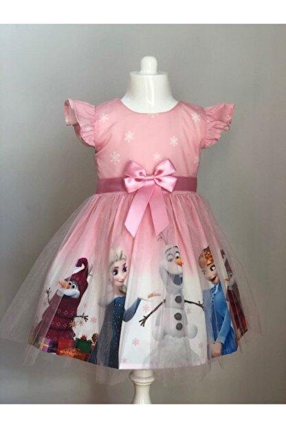 Buse&Eylül Bebe Kız Çocuk Pembe Elsa Karlar Kraliçesi Elbisesi
