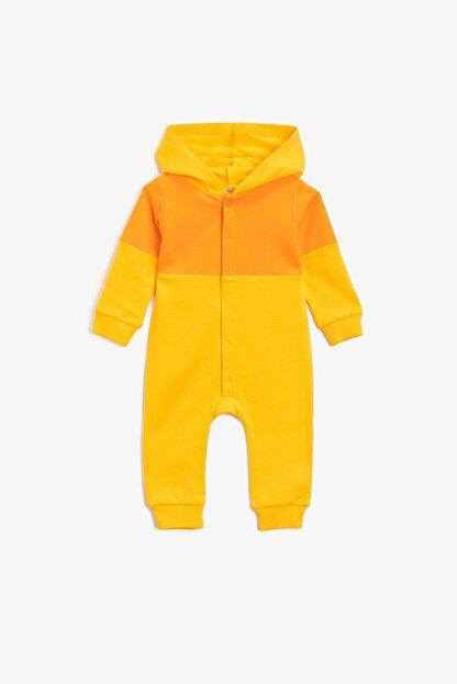 Koton Koton Erkek Bebek Pamuklu Kapüşonlu Çıtçıtlı Sarı Tulum 1knb10441tk