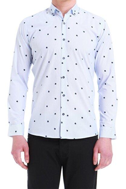 Efor Erkek Mavi Slim Fit Klasik Gömlek Gk 550