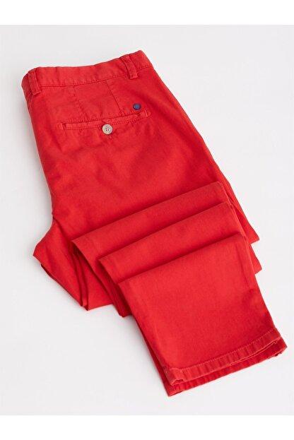 Dufy Kırmızı Düz Pamuklu Likra Erkek Pantolon - Slım Fıt