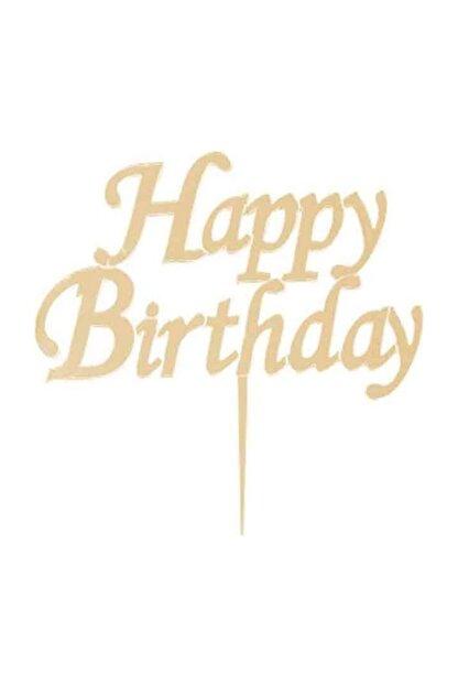 Cansüs Altın Happy Birthday Pleksi Pasta Süsü  15 X 15 cm