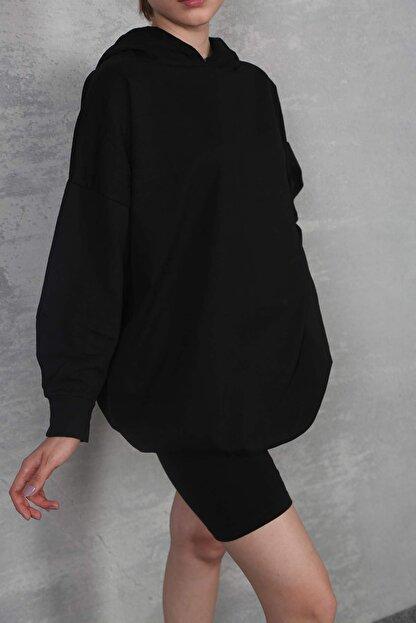 Lena Butik Kadın Siyah Basic Oversize Sweat