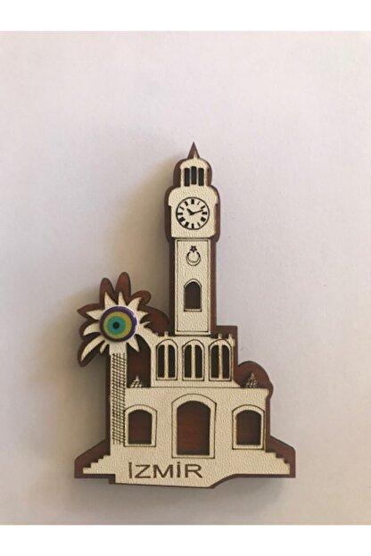 Lazer Ahşap Izmir Saat Kulesi Magnet Buzdolabı Süsü