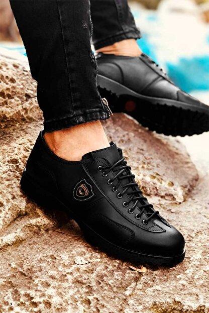 Eser Akış Erkek Siyah Dört Mevsim Rahat Tam Ortopedik Ayakkabı