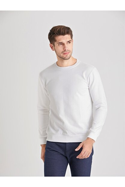 Dufy Beyaz Düz Erkek Sweatshırt - Modern Fit