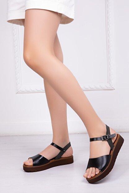 Deripabuc Hakiki Deri Siyah Kadın Deri Sandalet Dp-0096