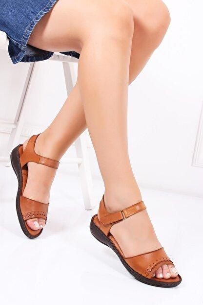 Deripabuc Hakiki Deri Taba Kadın Deri Sandalet Dc-0181