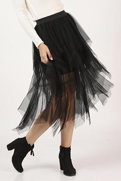 Tena Moda Kadın Siyah Parçalı Tül Etek