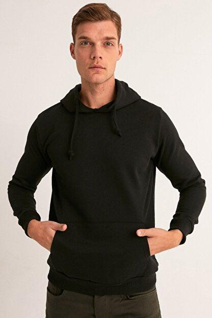 Fullamoda Erkek Siyah Kapüşonlu Sweatshirt