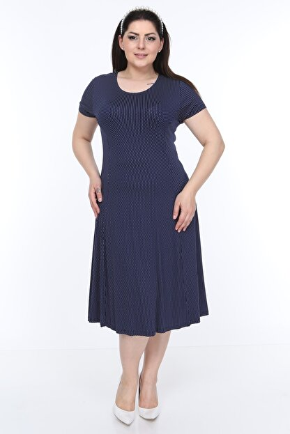 SENTEX Kısa Kollu Puantiyeli Kuplu Belden Oturmalı Bayan Elbisesi