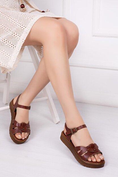 Deripabuc Hakiki Deri Kahverengi Kadın Deri Sandalet Dp-1014