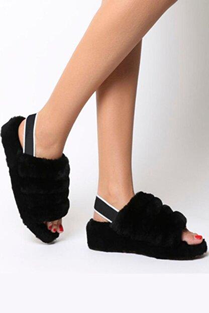 BAHELS Kadın Siyah Kürklü Lastik Detaylı Eva Taban Terlik / Sandalet