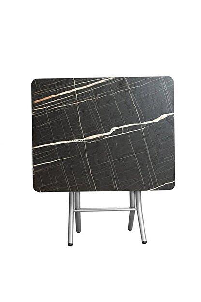 ORMANCA Katlanır Kırma Kabartma Taş Desen 60x60 Katlanabilir Masa