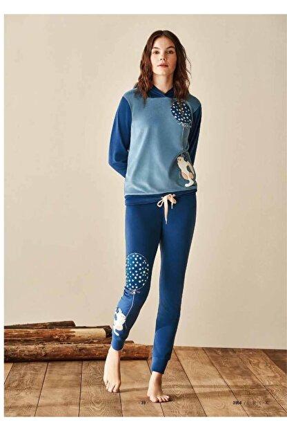 Feyza 3954 Bayan Kapşonlu Pijama Takım 21k