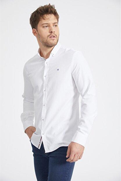 Avva Erkek Beyaz Armürlü Düğmeli Yaka Slim Fit Gömlek A02y2024