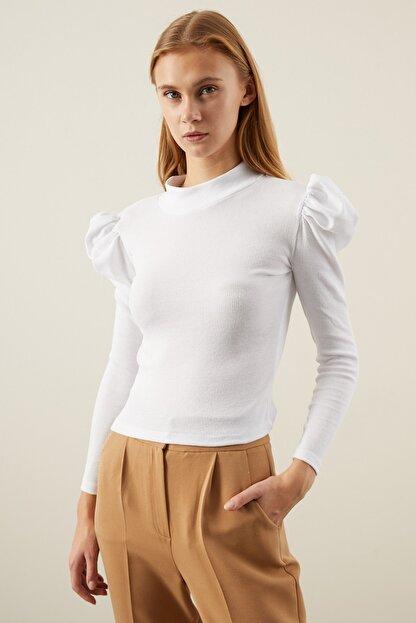 Tena Moda Kadın Beyaz Karpuz Kol Balıkçı Yaka Bluz
