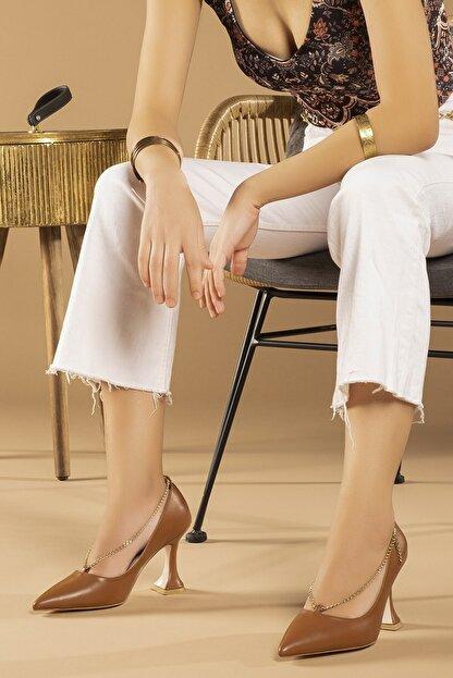 Tessera Kadın Camel Topuklu Stiletto Ayakkabı
