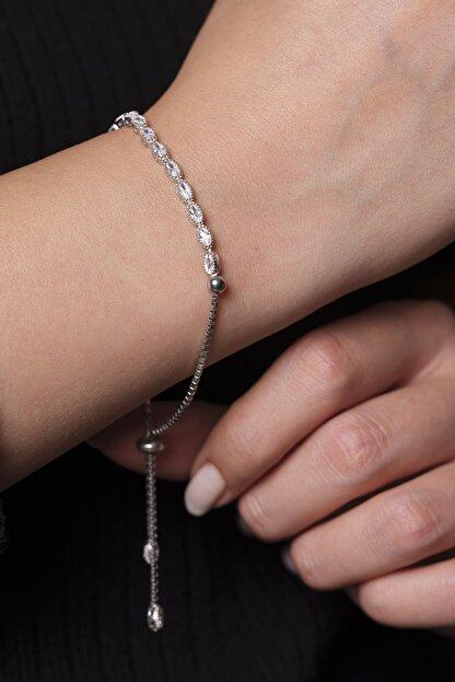 925 Gümüş Gümüş Kadın Bilekliği Badem Baget Su Yolu