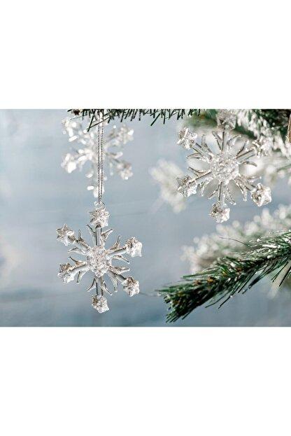 English Home Snowflake Cam 3'lü Askılı Aksesuar 6,5 Cm Şeffaf