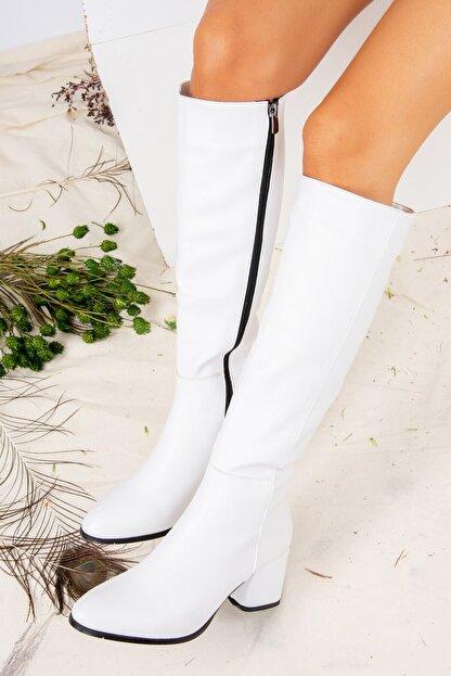 Fox Shoes Beyaz Suni Deri Kadın Çizme J848300109