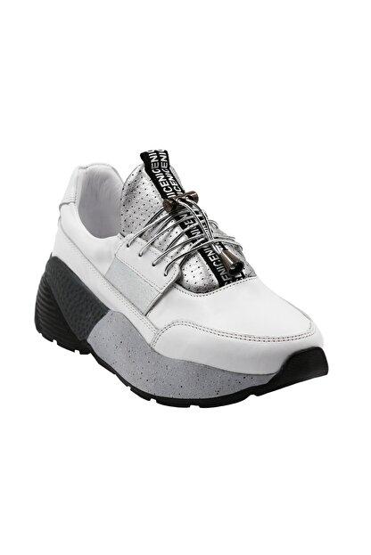 Abbondare Hakiki Deri Beyaz Kadın Spor Ayakkabı-sneaker