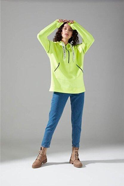 Mizalle Youth Neon Karyoka Sweatshirt (Yeşil)