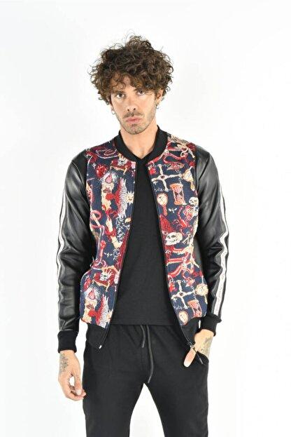 DAVID&GERENZO Renkli Desenli Deri Görünümlü Fermuarlı Lacivert Ceket