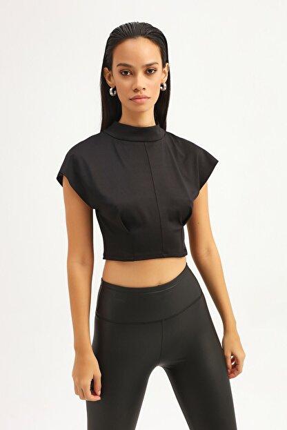 RANESA Kadın Siyah Boğazlı Crop Bluz