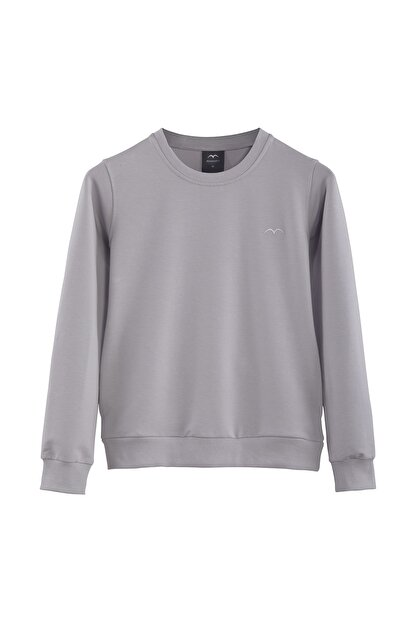 Minimalist Kadın Gri Basic Sweatshirt