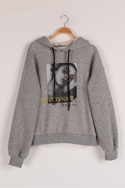 Lavien Kız Çocuk Transfer Baskılı Şardonlu Sweatshirt