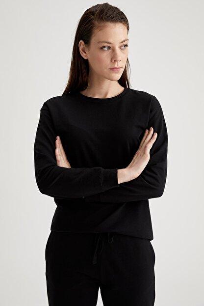 Defacto Kadın Siyah Relax Fit Sweatshirt