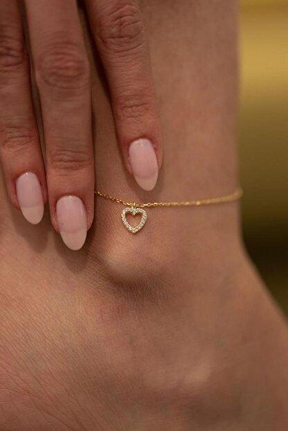 İzla Design Kadın Kalp Model Altın Kaplama Gümüş Italyan Halhal