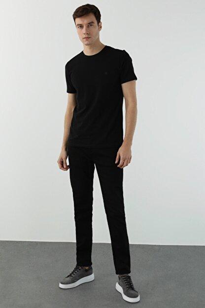 Network Erkek Slim Fit Siyah T-shirt 1077937