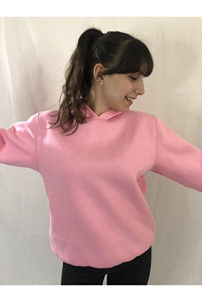 alyeonline Kadın Pembe Basic Sweatshirt