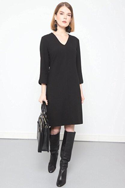 Journey Elbise- V Yaka Turvakar Kol, Kol Yırtmaç Detaylı
