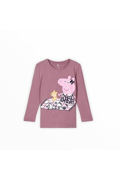 name it Kız Çocuk Pembe Peppa Pig Baskılı T-shirt