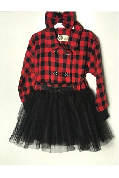 RG KİDSTORE Kırmızı Kız Çocuk %100 Pamuk Elbise