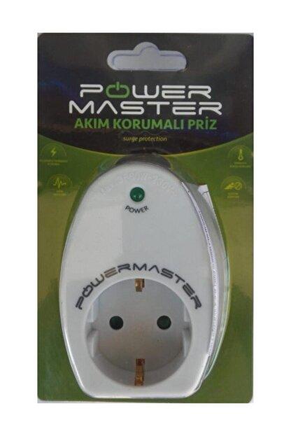 Powermaster Led Işıklı Beyaz Akım Korumalı Priz