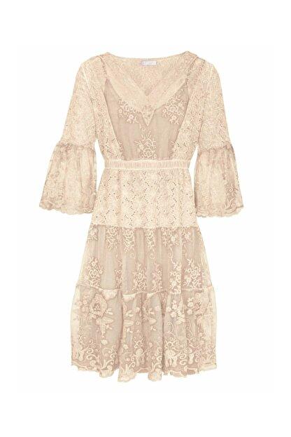 Bulalgiy Kadın Krem Dantelli Nakışlı 2 Parça Elbise - Bga098323ts