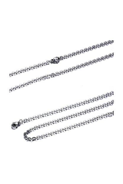 Chavin Erkek Gümüş Kolye Çelik Zincir 60 cm 3 mm df32