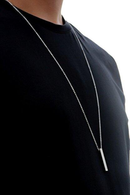 Baykuş 70 cm Uzun Bar Erkek Dikdörtgen Çelik Kolye