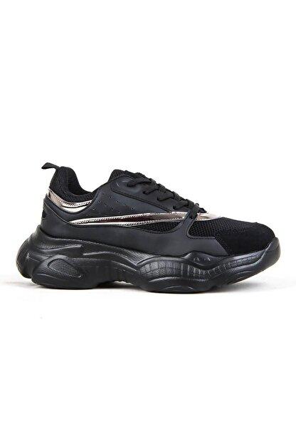 Conpax Kadın Siyah Günlük Yürüyüş Spor Ayakkabı